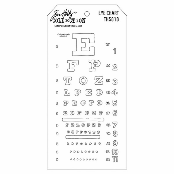 Stampers Anonymous - Tim Holtz - Layering Stencil -  Eye Chart (E*)