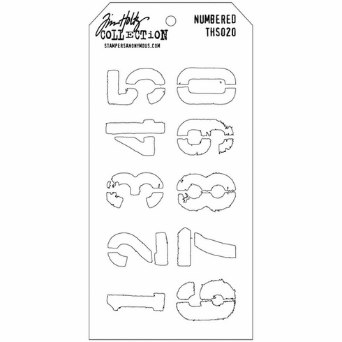 Stampers Anonymous - Tim Holtz - Layering Stencil -  Numbered  (E*)