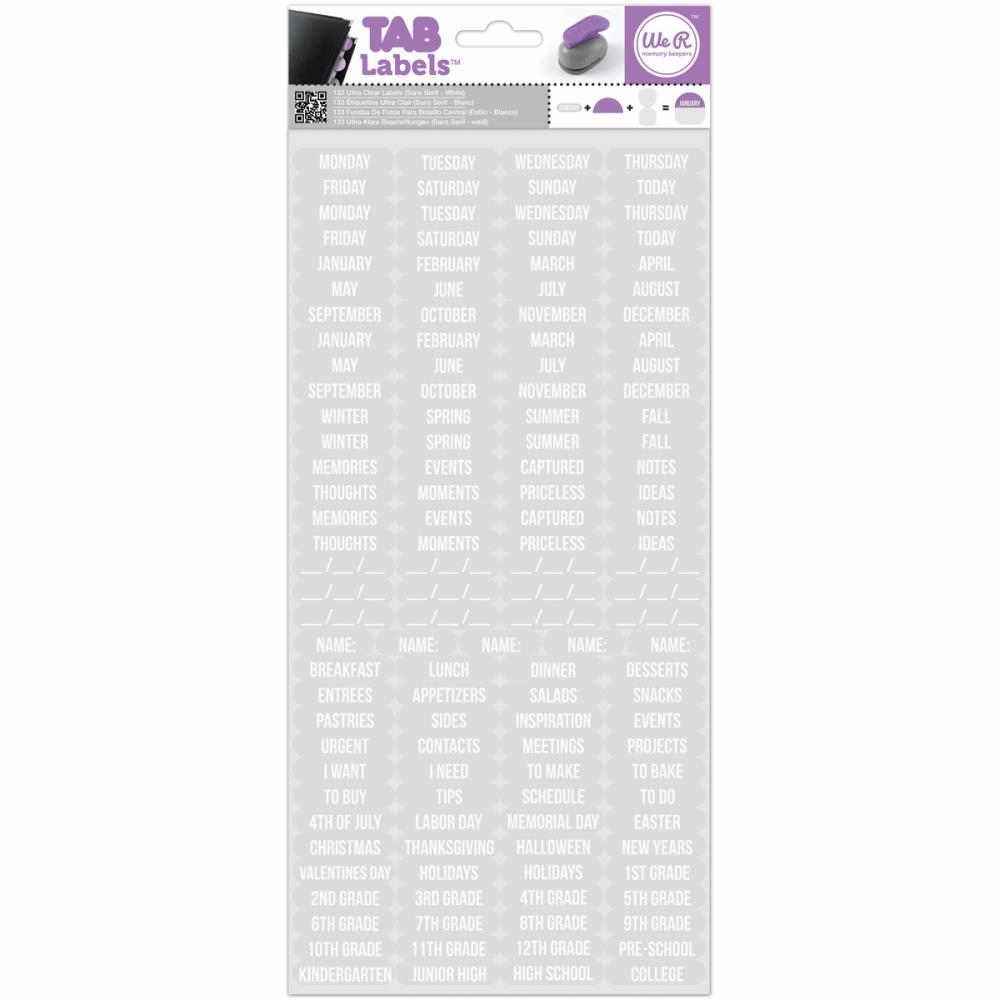 We R Memory Keepers - Tab Labels - Sans Serif White - S/O