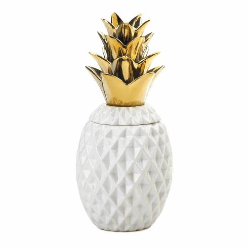 "13"" Gold Topped Pineapple Jar"