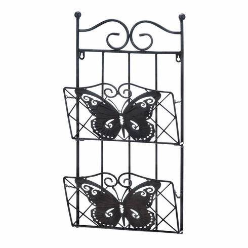 2-Tier Butterfly Magazine Wall Rack