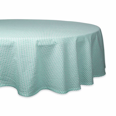 Aqua Seersucker Tablecloth 70 Round