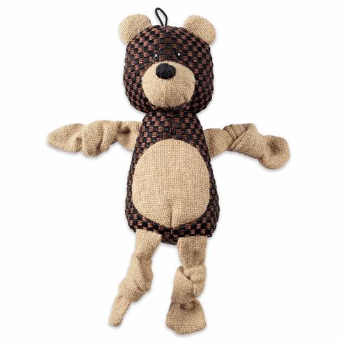 Bear With Squeaker Burlap Pet Toy
