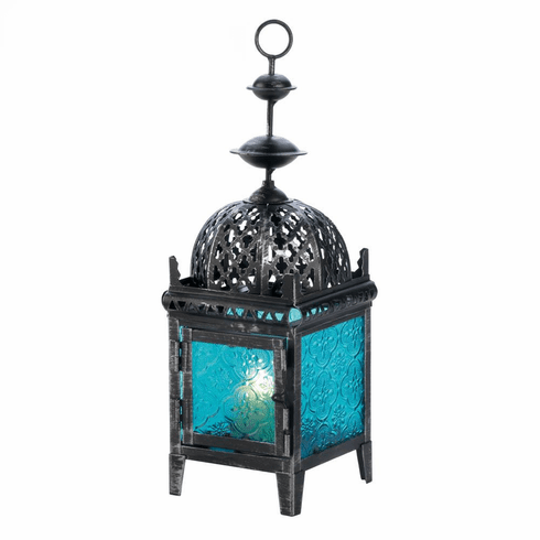 Blue Medallion Candle Lantern