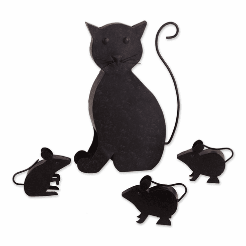 Cat With Mice Sculpture