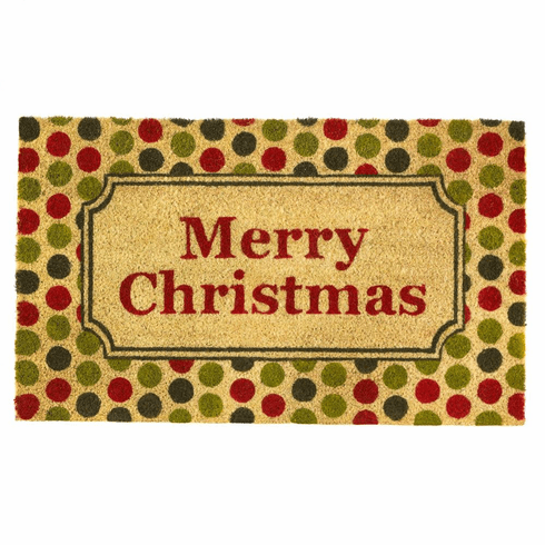 Christmas Polka Dot Welcome Mat