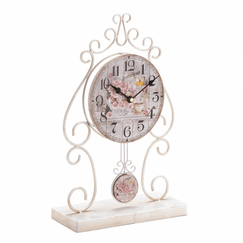 Country Rose Tabletop Clock