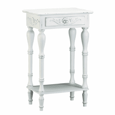 Distressed White Wood Accent Table