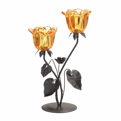 Double Amber Floral Candle Holder