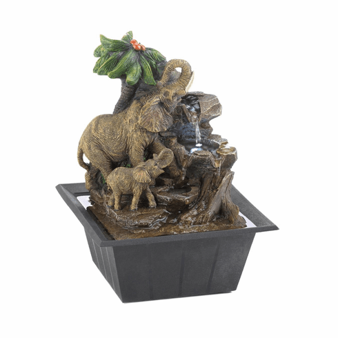 Elephant Family Tabletop Fountain