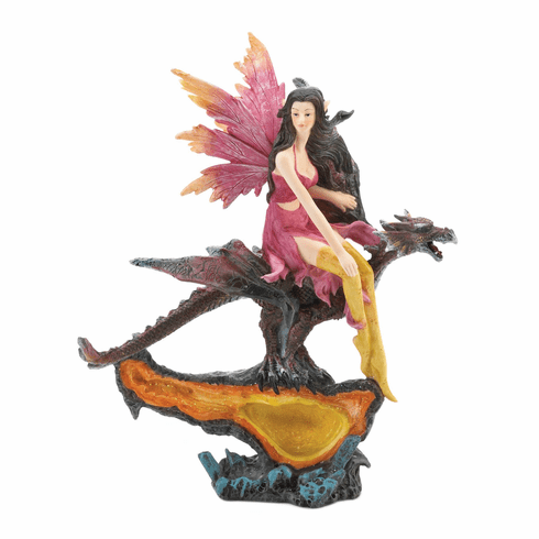 Fairy & Dragon Citrine Geode Statue