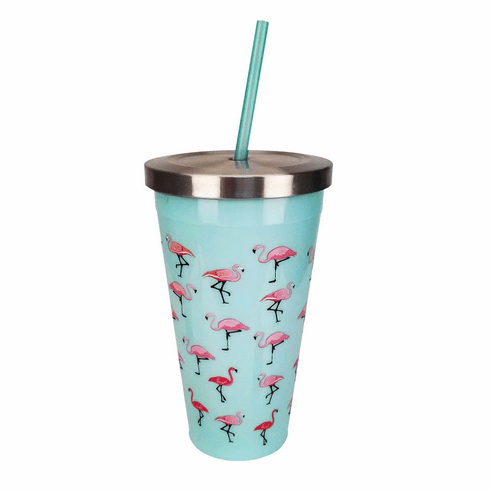 Flamingo Cup With Straw