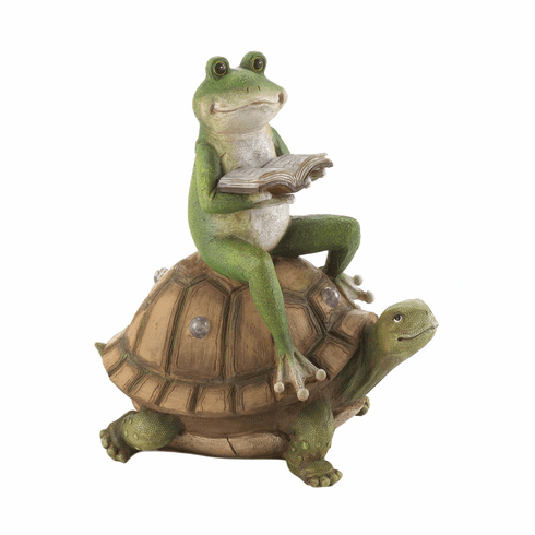 Frog And Turtle Solar Statue