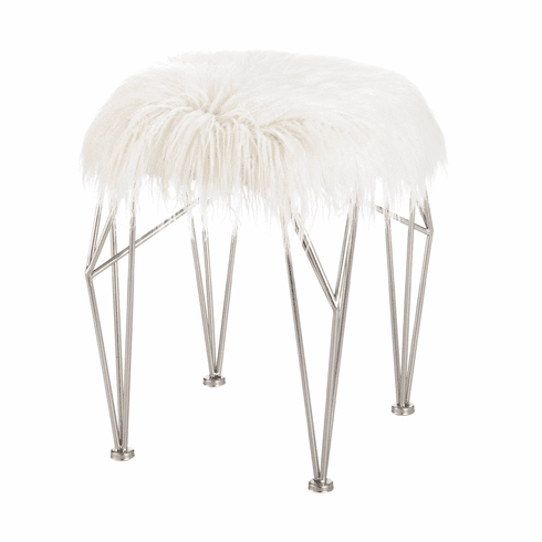 Fur Stool With Prism Legs