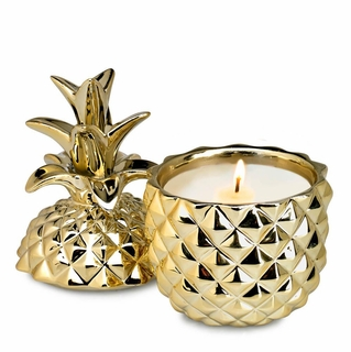 Golden Ceramic Pineapple Candle