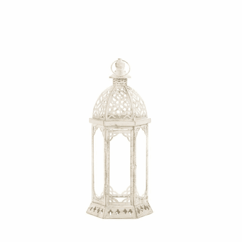 Graceful Distressed White Lantern (S)