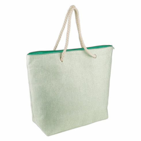Green Stripe Shimmer Beach Bag
