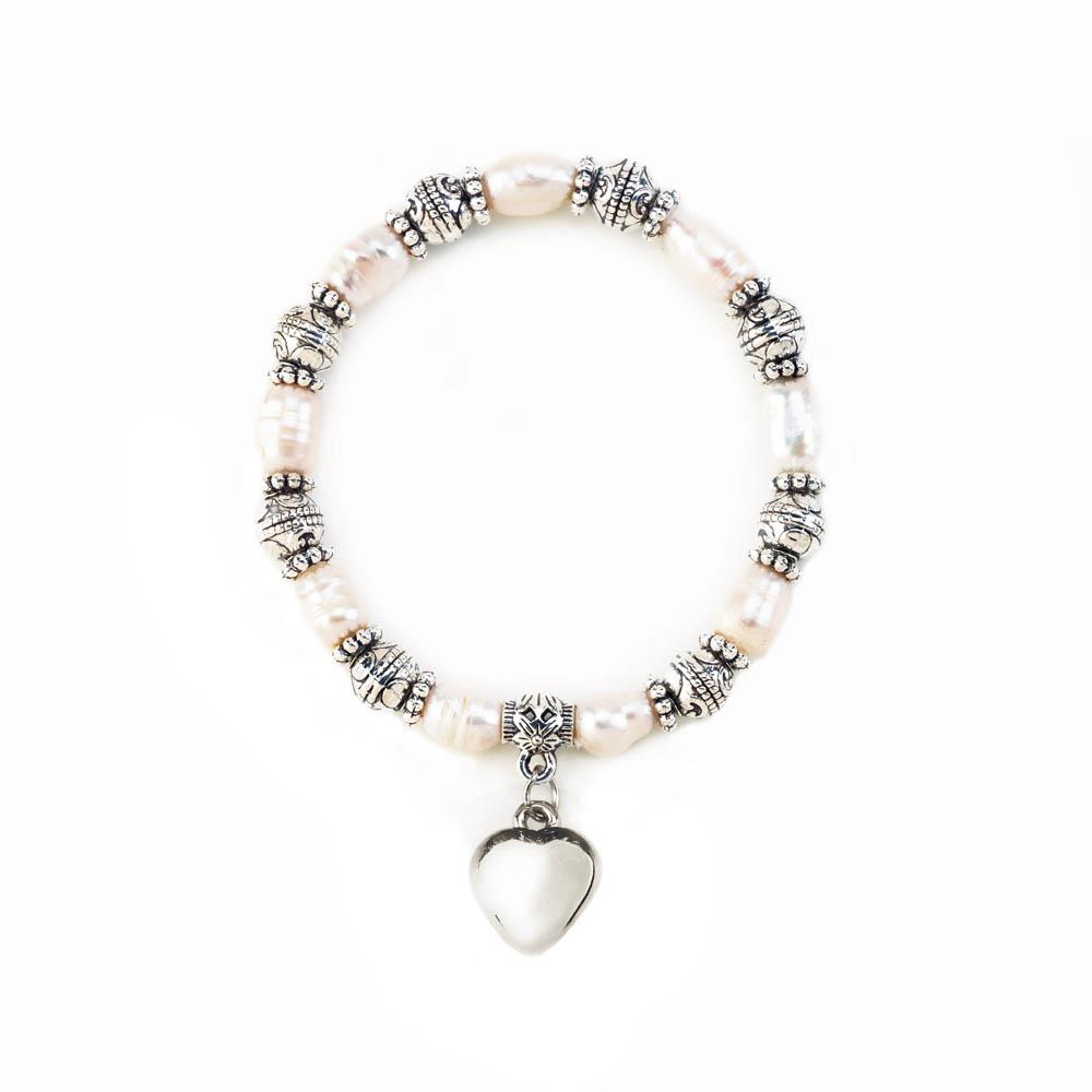 Heart CHARM Pearl Stretch Bracelet