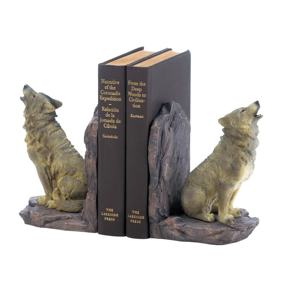 Howling Wolf Bookends Wholesale at Koehler Home Decor