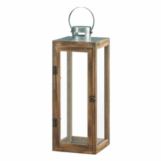 Large Metal Top Square Wood Lantern