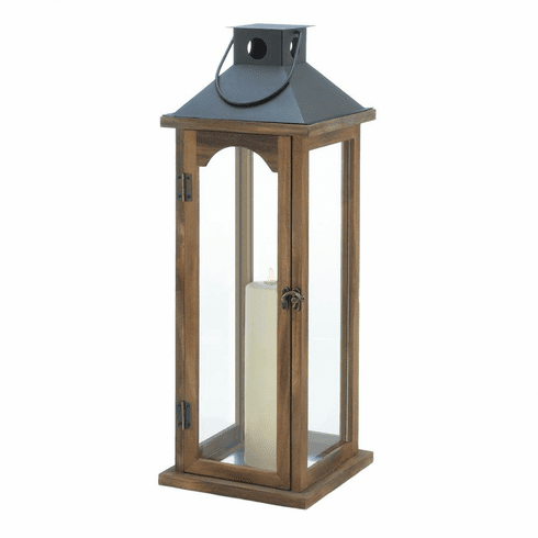 Large Simple Metal Top Wooden Lantern