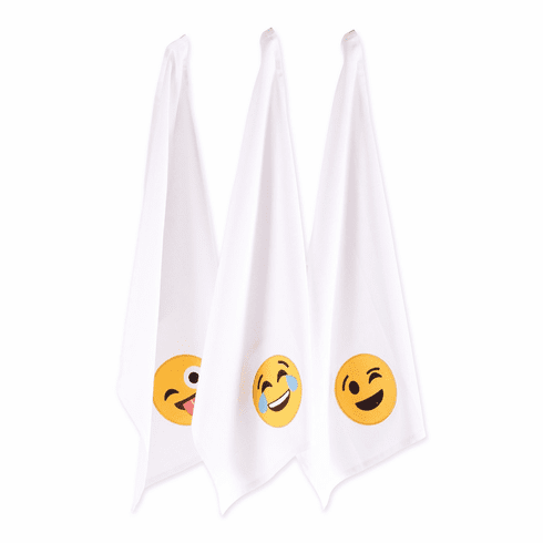 Laughing Emoji Embellished Dishtowels Set/3