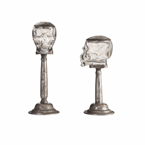 Light Up Glass Skull Stands Set