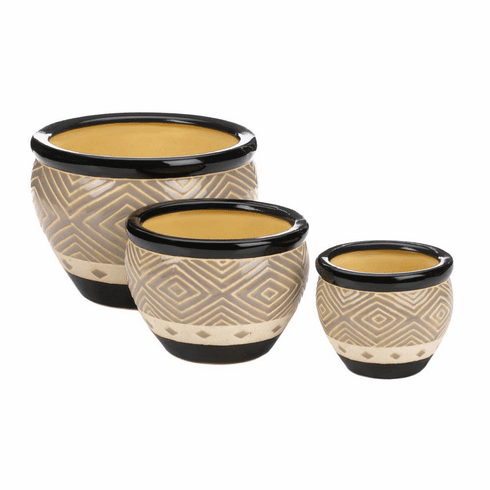 Modern Black Trim Planter Trio