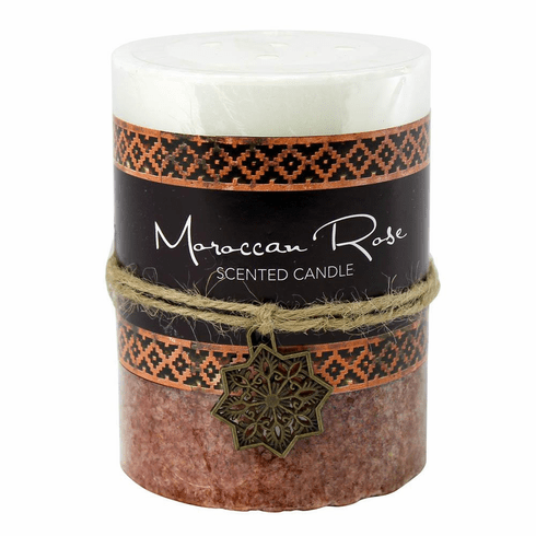 Moroccan Rose Pillar Candle 3X4