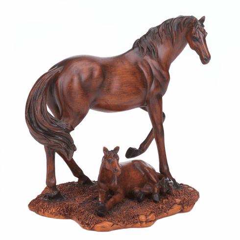 Mother & Foal Horse Statue