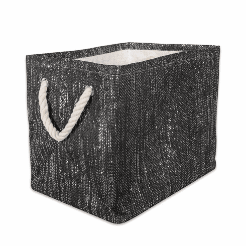 Paper Bin Lurex Black/Silver Rectangle Small 11X10X9
