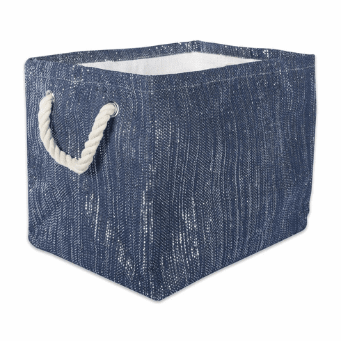 Paper Bin Lurex Nautical Blue/Silver Rectangle Large 17X12X12