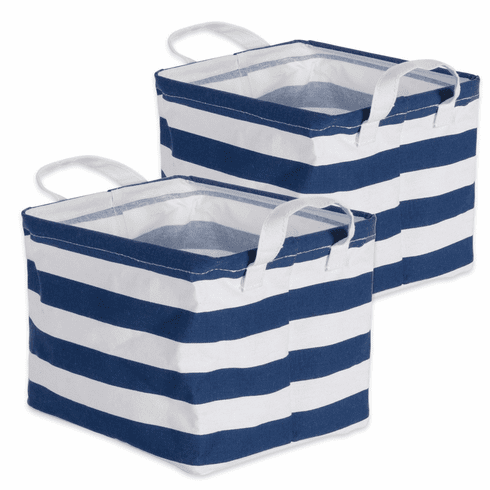 PE Coated Cotton/Poly Laundry Bin Stripe Nautical Blue  Rectangle Extra Small 8X9.5X7 Set/2