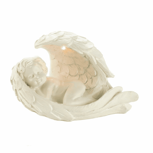 Peaceful Solar Cherub Figurine