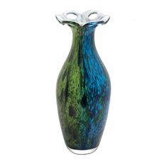 Peacock Bloom Art Glass Vase