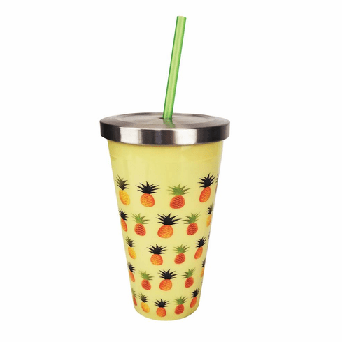 Pineapple Cup With Straw