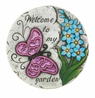 Pink Butterfly Garden Stepping Stone