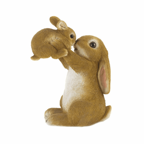 Playful Mom & Baby Rabbit Figurine