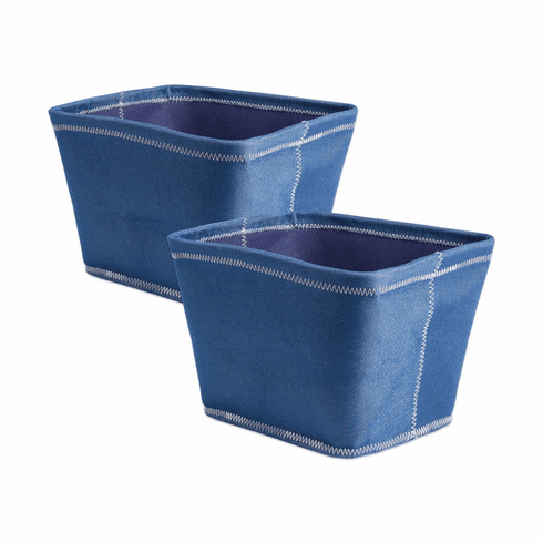 Poly Bin Zig-Zag Stitch Variegated Blue Trapezoid 12X10X8 Set/2