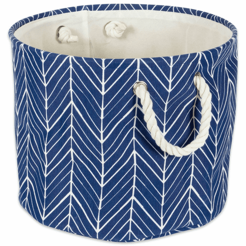 Polyester Bin Herringbone Nautical Blue Round Medium 12X15X15