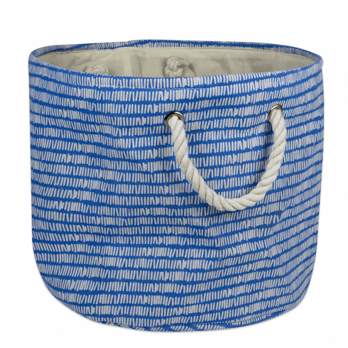Polyester Bin Keeping Score Bright Blue Round Medium 12X15X15