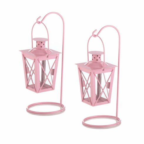 Pretty In Pink Railroad Candle Lanterns