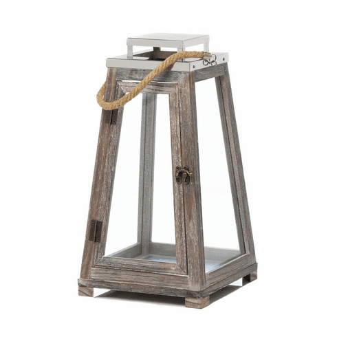Pyramid Wooden Lantern With Rope (L)