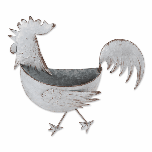 Rooster Galvanized Wall Planter