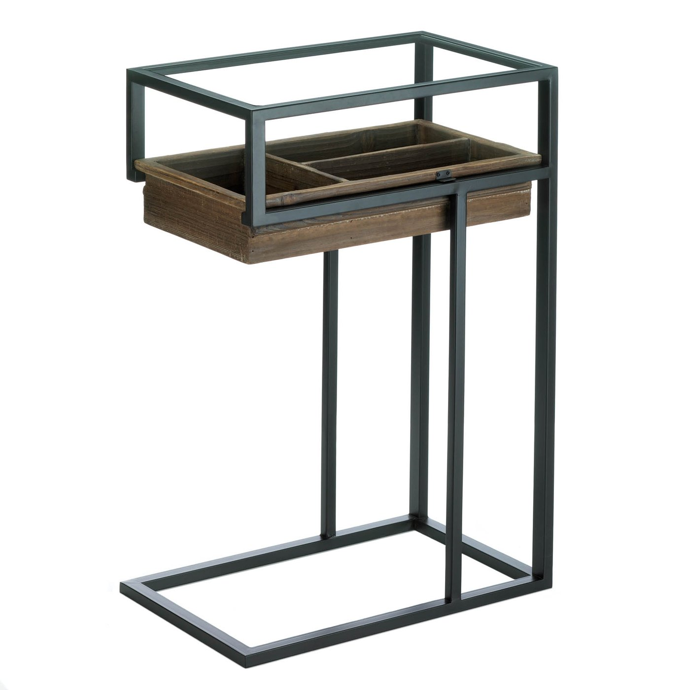 Unique Modern Industrial Side End Table With Slide Out Drawer
