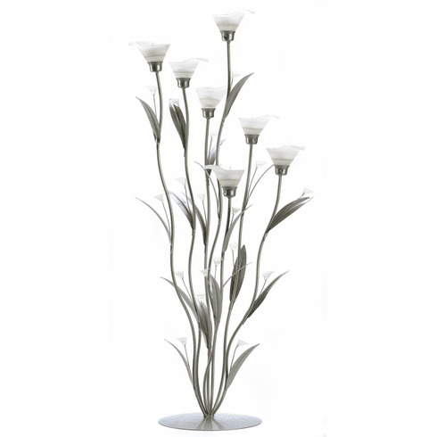 Silver Calla Lily Candle Holder