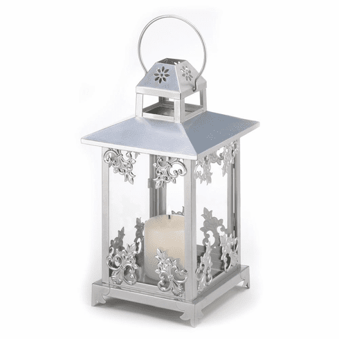 Silver Scrollwork Candle Lantern