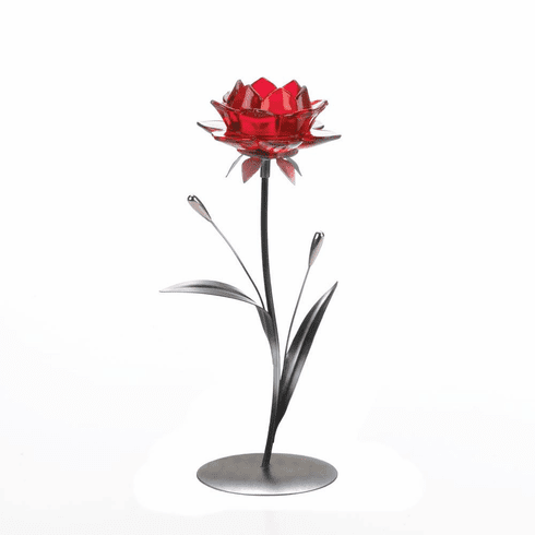 Single Red Flower Candle Holder