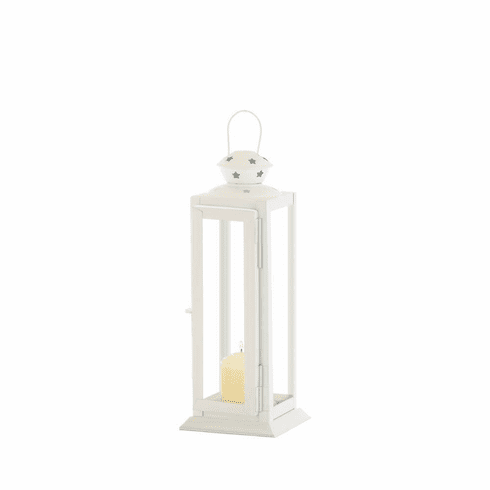 Small Cutout Stars White Lantern
