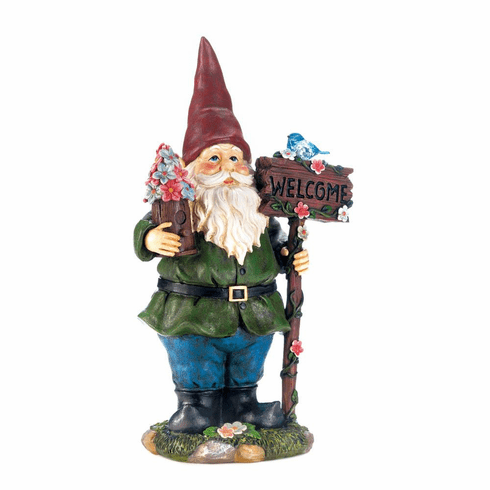 Solar Bluebird Gnome Welcome Statue